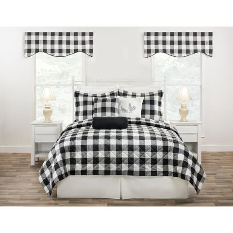 Cottage Classic Plaid Quilt only in black, blue or yellow