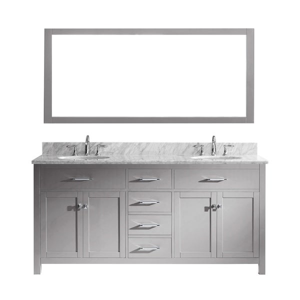 Shop Caroline 72 Double Vanity White Marble Top Round Sink Faucet