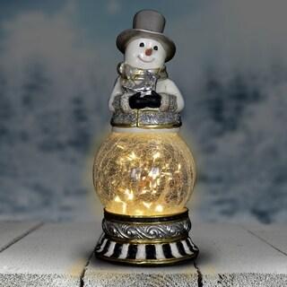 Snowman Firefly Globe with Timer - Holding Bird