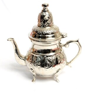 Moroccan Copper Teapot Silver Plated Color Hand Engraved