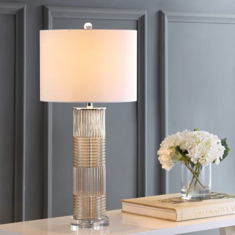 """Genevieve 30"""" Glass/Crystal LED Table Lamp, Champagne by JONATHAN Y"""