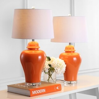 "Winnie 27"" Ceramic Urn LED Table Lamp, Orange (Set of 2) by JONATHAN Y"
