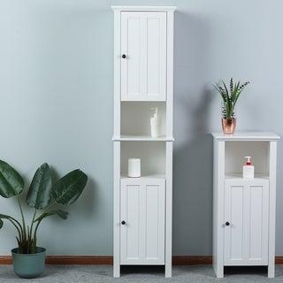 White Wood Tall Bathroom Cabinet