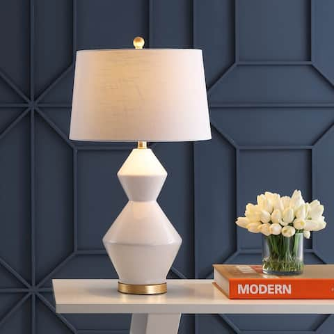 "Alba 29"" Geometric Ceramic/Metal LED Table Lamp, White/Gold Leaf by JONATHAN Y"