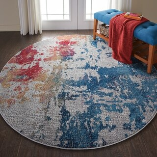 Nourison Global Vintage Multicolor Abstract Round Rug - 7'10 x round