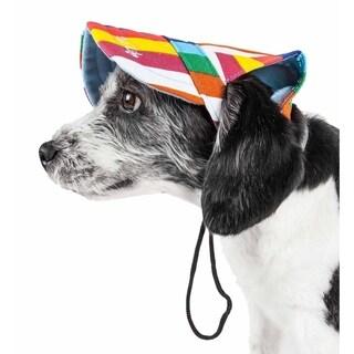 Pet Life ® 'Colorfur' Floral Uv Protectant Adjustable Fashion Dog Hat Cap