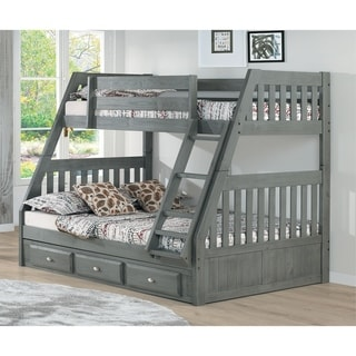 Solid Pine Twin/Full Bunk Bed with Three Drawers in Charcoal