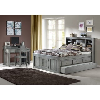 Solid Pine Full Captains Bookcase Bed with Twin Trundle in Charcoal