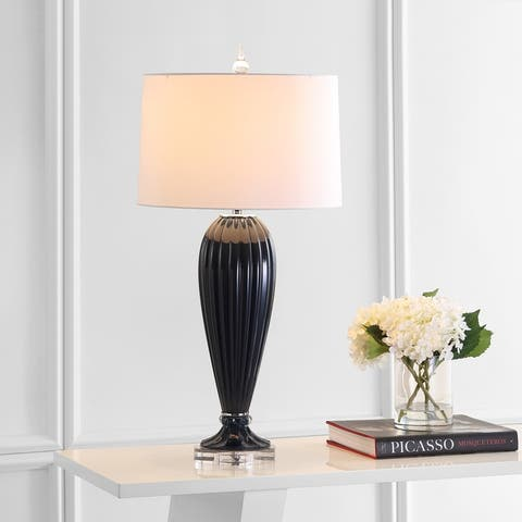 """Delphine 32.5"""" Glass/Crystal LED Table Lamp, Navy by JONATHAN Y"""