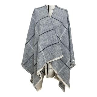 LA77 Beige Checkered Striped Ruana Wrap Cover Up