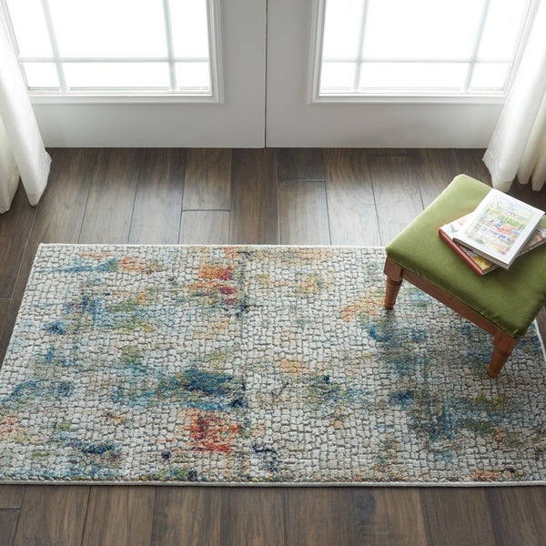 Shop Nourison Global Vintage Ivory Multicolor Abstract Area Rug 2