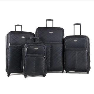 Prima Luggage Softside Spinner 4pc Set Plaid Black