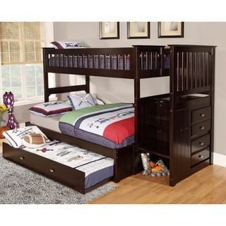 Solid Pine Mission Staircase Twin over Full with Four Drawer Chest and Roll Out Twin Trundle Bed in Espresso.