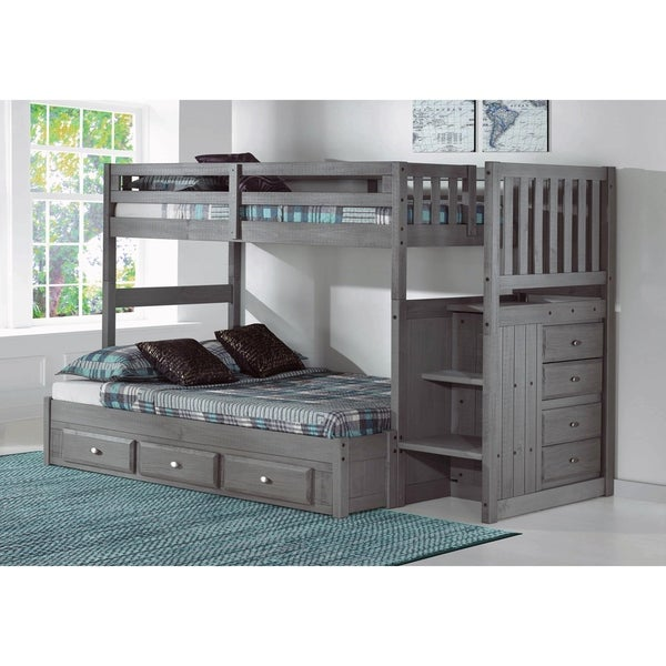 Charcoal Solid Pine Twin over Full Bunk Bed with Storage and Staircase
