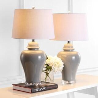 "Winnie 27"" Ceramic Urn LED Table Lamp, Grey (Set of 2) by JONATHAN  Y"