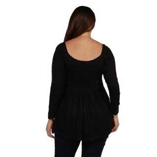 24/7 Comfort Apparel Pleated Plus Size Long Sleeve Tunic Top