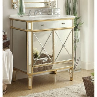"32"" Benton Collection Austell Gold Mirrored Bathroom Vanity"