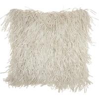 Mina Victory Handmade White Shag Throw Pillow (20 -Inch x 20 -Inch)