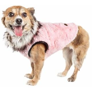 Pet Life ® Luxe 'Pinkachew' Charming Designer Mink Fur Dog Coat Jacket