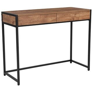 Lancaster Home Cumberland Collection Wood Grain Finish Computer Desk with 2 Full-length Drawers