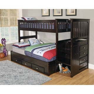 American Furniture Classics Model 2914-TFE, Solid Pine Mission Staircase Twin over Full with Seven Drawers in Espresso