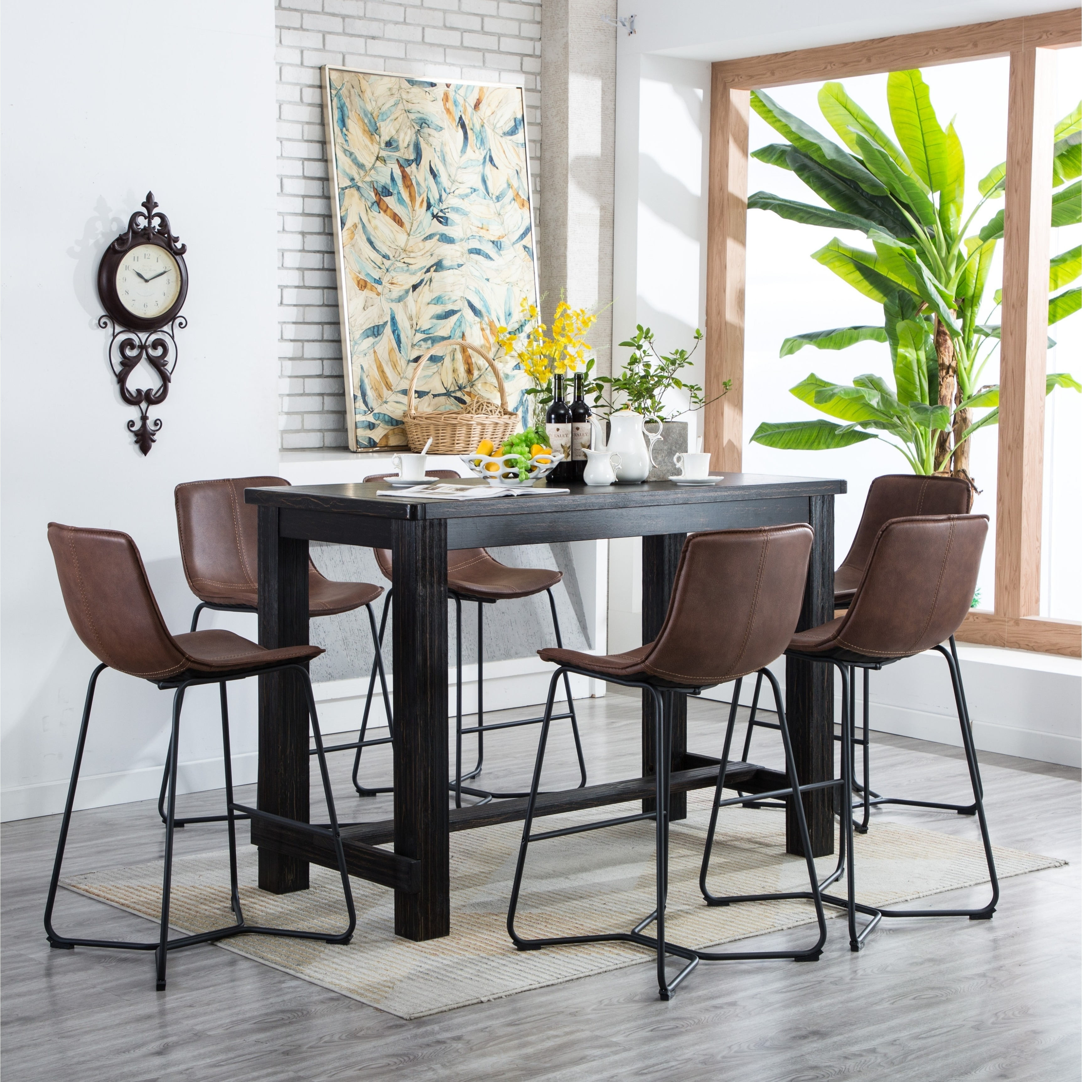 Astonishing Bronco Antique Wood Finished Bar Dining Set Table And Six Chairs Ibusinesslaw Wood Chair Design Ideas Ibusinesslaworg