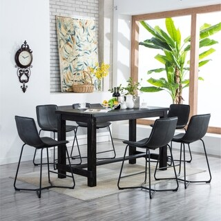 Bronco Antique Wood Finished Counter Height Dining Set: Table and Six Chairs