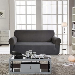 Enova Home Jacquard Polyester Spandex Box Cushion Grey Loveseat Sofa Slipcovers