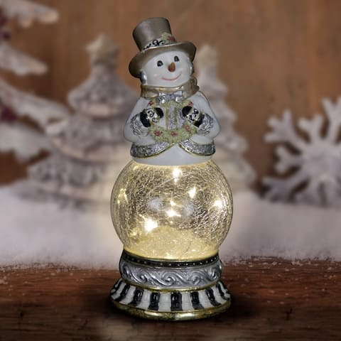 Snowman Firefly Globe with Timer - Holding Wreath