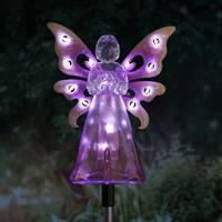 Solar Purple Angel Stake with LED Wings