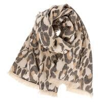 LA77 Camel Brown Leopard Animal Print Oblong Scarf