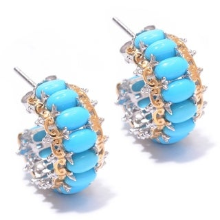 Michael Valitutti Palladium Silver Sleeping Beauty Turquoise Hoop Earrings