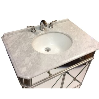 "30"" Benton Collection Adelisa Gold Mirrored Bathroom Vanity"