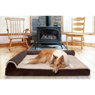 FurHaven Two-Tone FauxFur & Suede Deluxe Chaise Lounge Cooling Gel Top Sofa Pet Bed