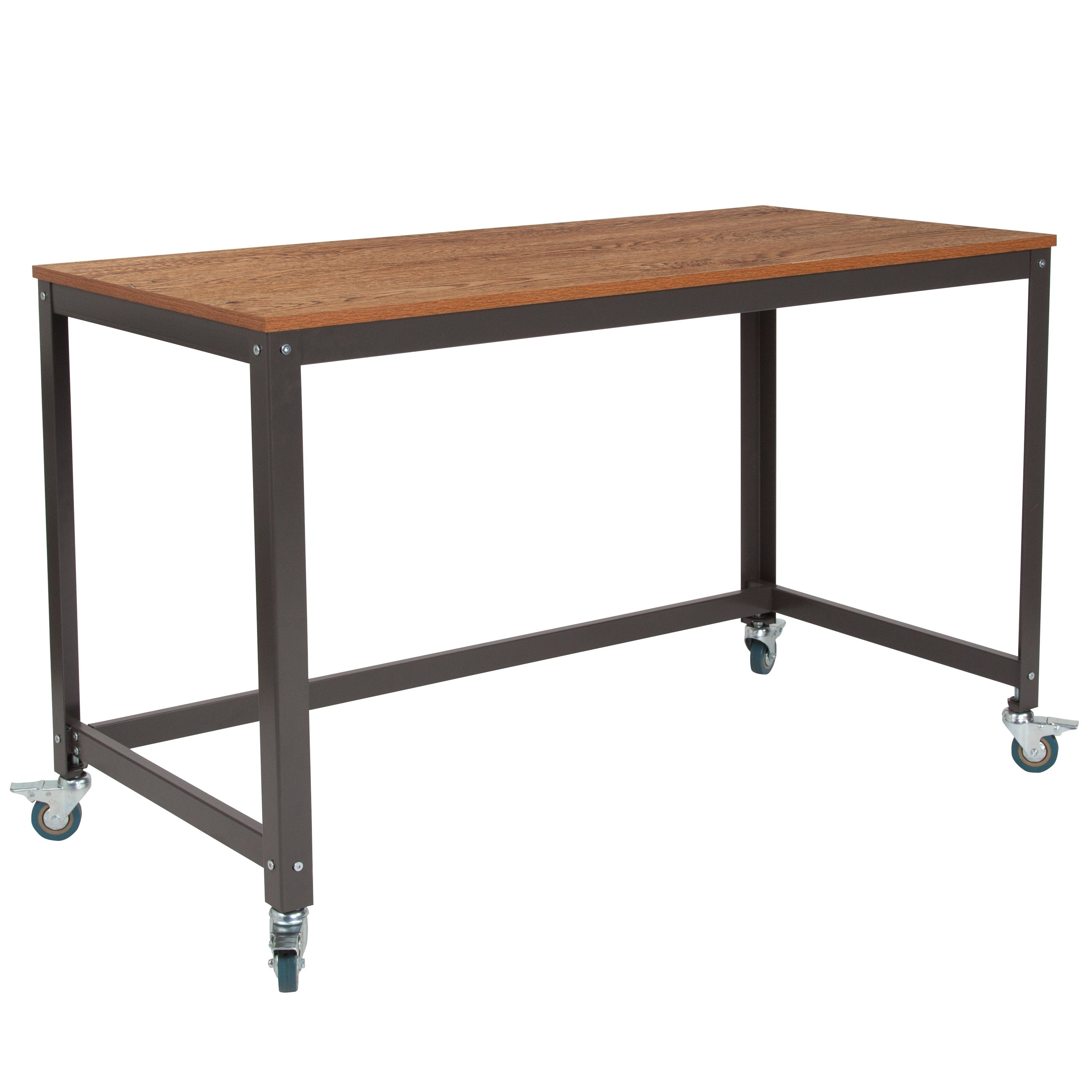 Lancaster Home Livingston Collection Wood Grain Finish With Metal Wheels Computer Table And Desk