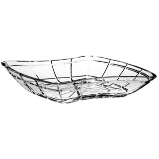 "Majestic Gifts European Cut Crystal Shallow Serving Bowl -18"" Long - Made in Europe"