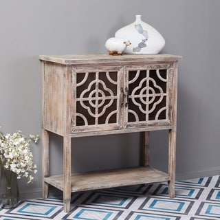 Weathered Wood and Metal Rustic Double Door Console Table