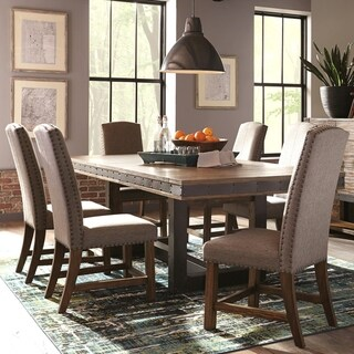 Industrial Rustic Design Metal and Wood Dining Set with Nailhead Trim