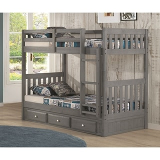 Solid Pine Twin/Twin Bunk with Three Drawers in Charcoal