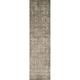 "Antique Inspired Vintage Grey/ Stone Distressed Runner Rug - 2'8"" x 7'6"" Runner"