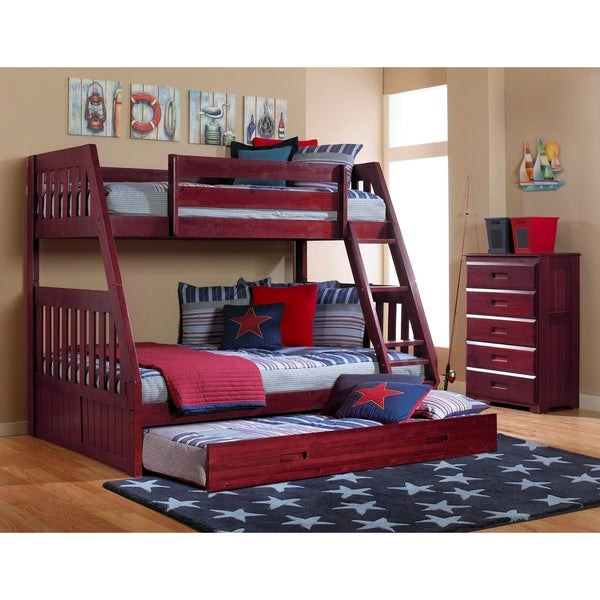 American Furniture Clics Merlot Solid Pine Staircase Twin Full Bunk Bed With Roll Out Trundle On Free Shipping Today