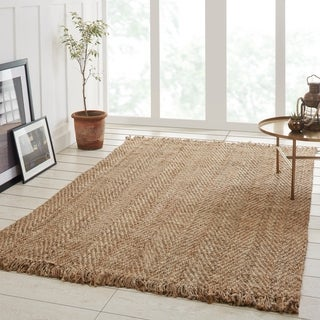 Superior Bohemian Natural Hand-Woven Jute Area Rug with Fringes - 2' x 3'