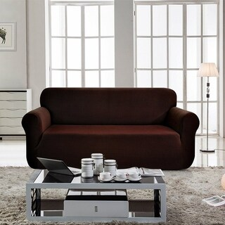 Enova Home Jacquard Polyester Spandex Box Cushion Chocolate Loveseat Sofa Slipcovers - N/A