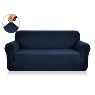 Enova Home Jacquard Polyester Spandex Box Cushion Dark Blue Loveseat Slipcovers