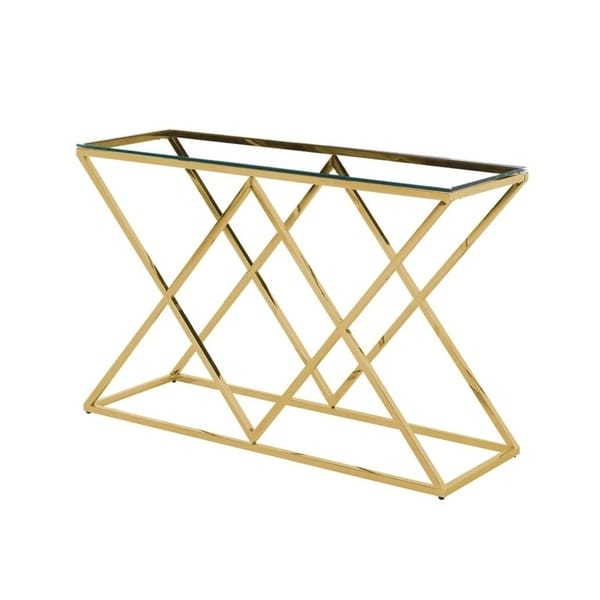 Best Master Furniture Angled Gold Clear Glass Sofa Table