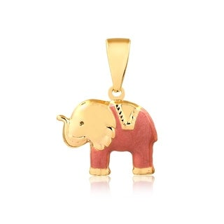 Gold Plated Elephant Enamel Pendant
