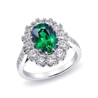Platinum 4.72ct TGW GIA Certified Tsavorite and White Diamond Engagement Ring