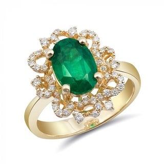 Link to 14K Yellow Gold 2.54ct TGW Emerald and White Diamond One-of-a-Kind Ring Similar Items in Rings