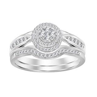 10KT White & Yellow Gold 1/3CT Natiral Round Diamond Ladies Bridal Set