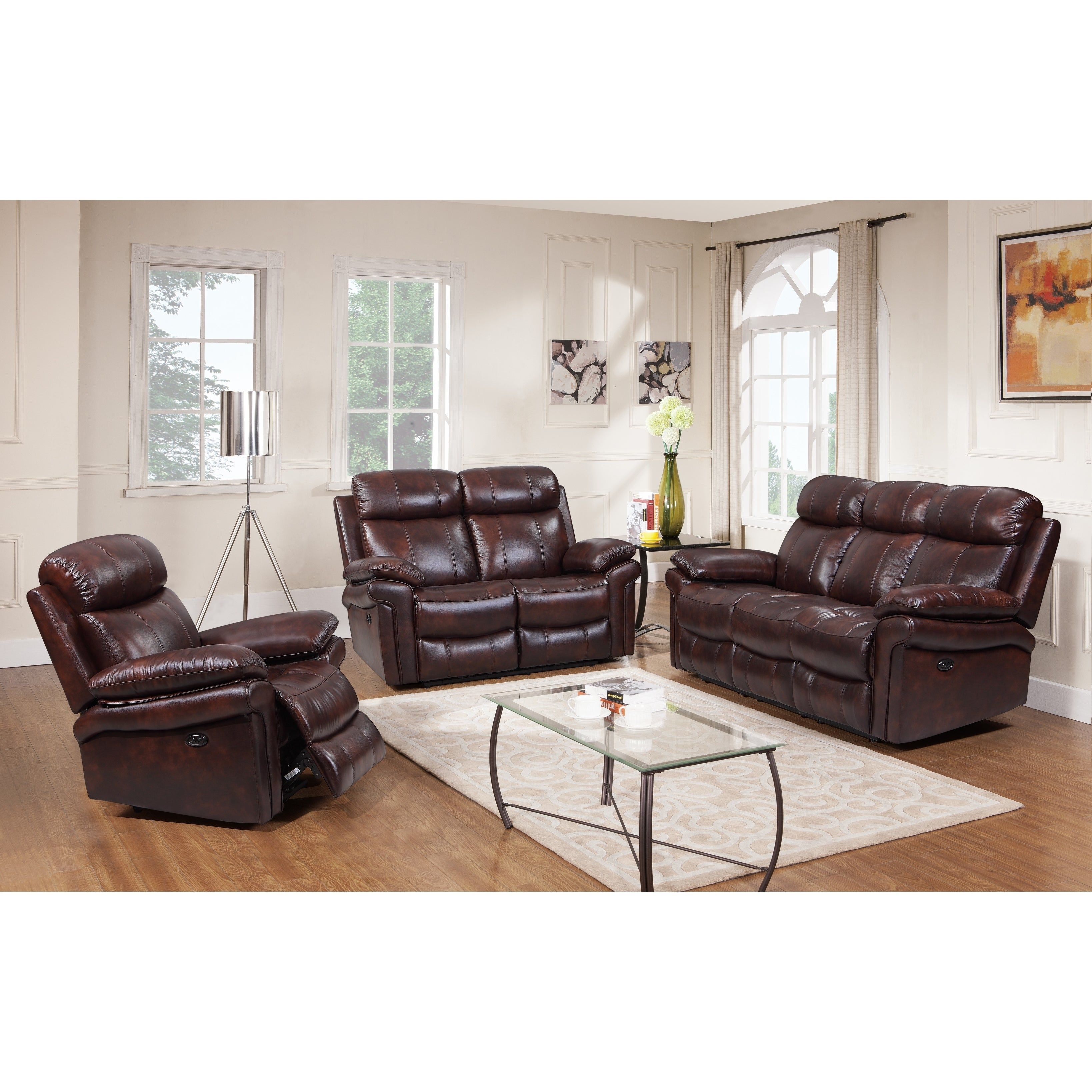 Hudson Top Grain Leather Power Reclining Living Room Set Brown Blue Red
